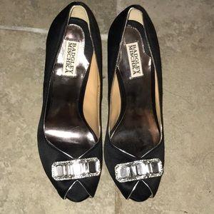 Badgley Mischka, black satin peep toe heels